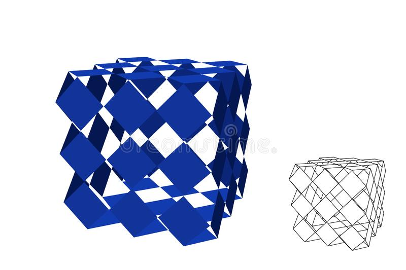 Abstract polygonal broken cube. Isolated on white background. Vector illustration. Abstract polygonal broken cube. Isolated on white background. 3d Vector stock illustration