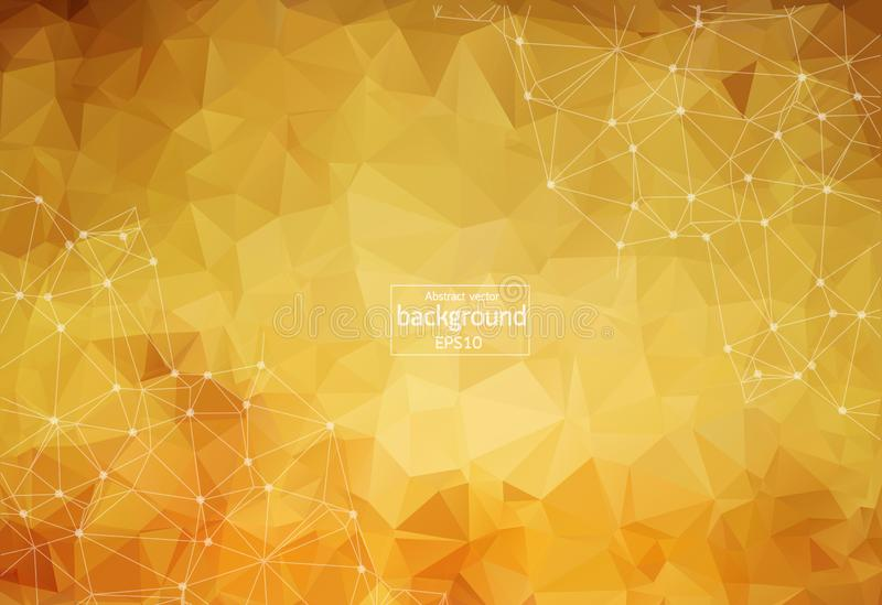 Abstract polygonal brown background with connected dots and lines, connection structure, futuristic hud background, vector illustr. Ation royalty free illustration