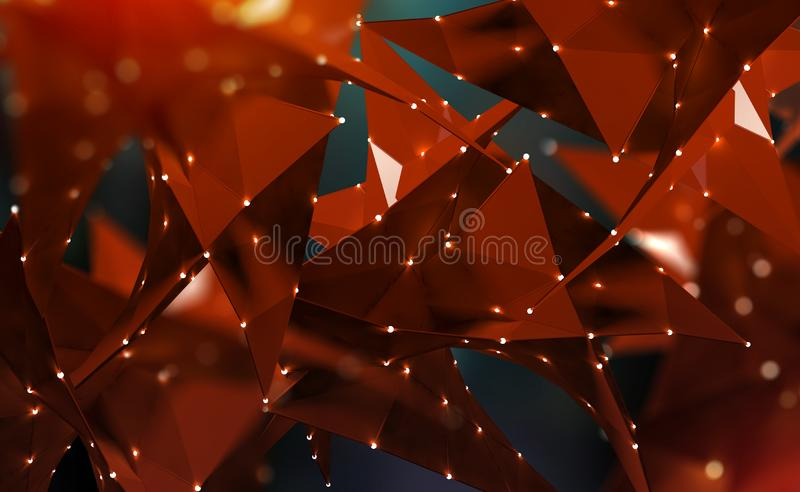 Abstract polygonal 3D illustration. Digital technology of the future. Data transmission in the global network vector illustration