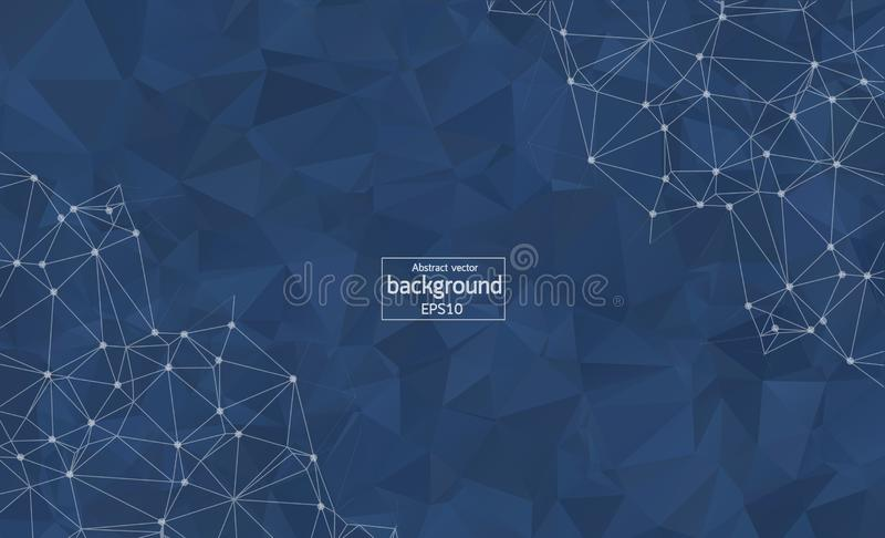 Abstract polygonal Dark Blue background with connected dots and lines, connection structure, futuristic hud background, vector ill. Ustration royalty free illustration