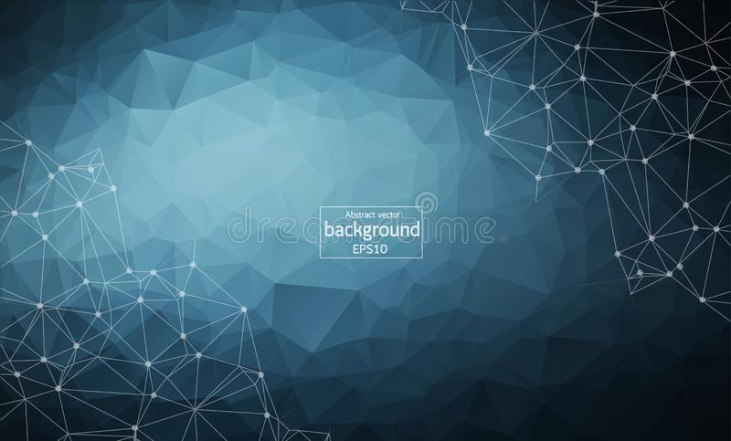 Abstract polygonal Dark Blue background with connected dots and lines, connection structure, futuristic hud background,. Vector illustration royalty free illustration