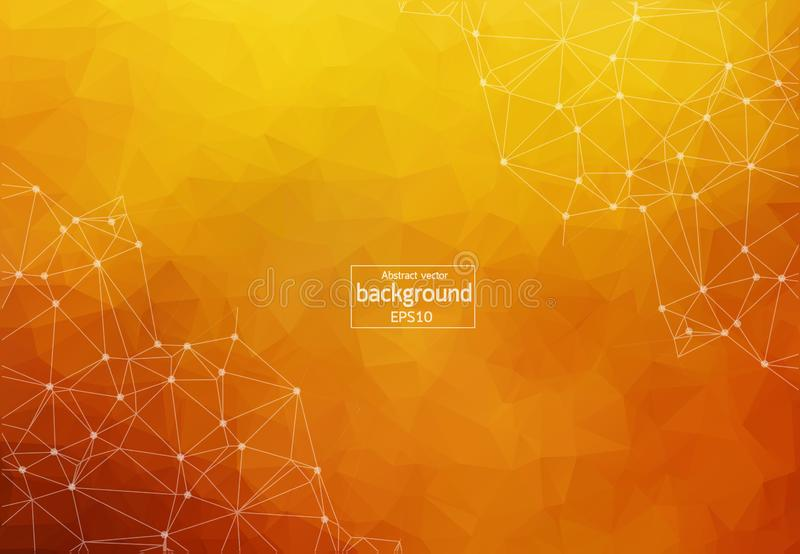 Abstract polygonal Dark orange background with connected dots and lines, connection structure, futuristic hud background, vector i royalty free illustration