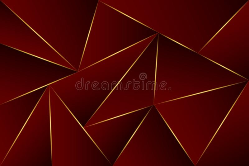 Abstract polygonal dark red premium background with gold lighting lines – vector stock illustration