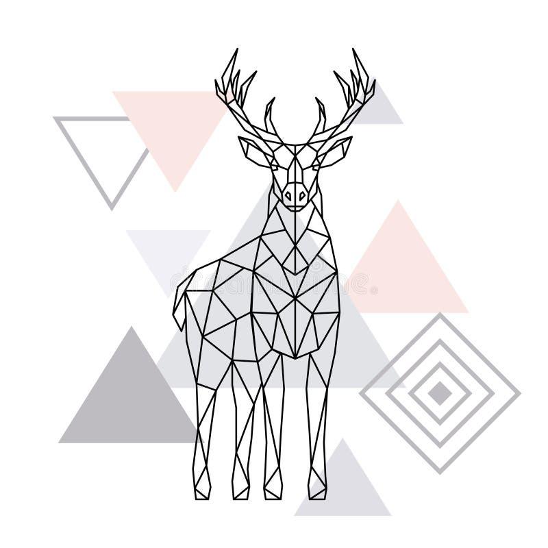 Abstract polygonal deer. Geometric hipster illustration. Reindeer poster. Scandinavian style. Vector print vector illustration