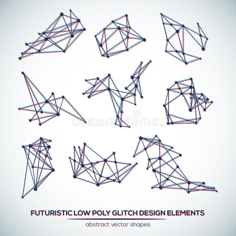 Abstract polygonal futuristic glitch shapes. Abstract low poly geometric technology vector design shapes. Polygonal vector molecule and communication elements stock illustration