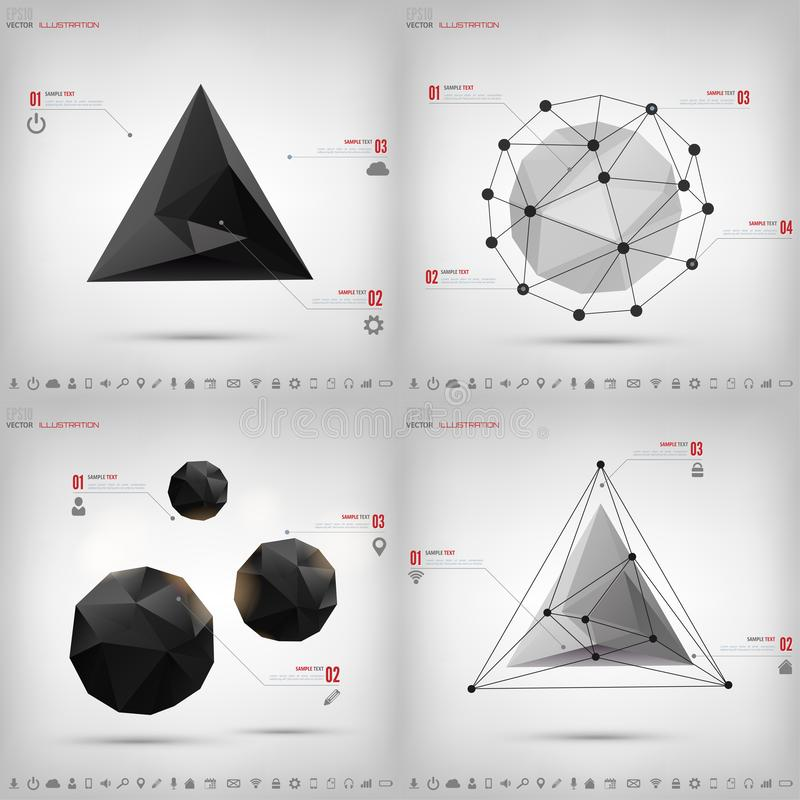 Abstract polygonal geometric background with web icons. Triangle elements. royalty free illustration