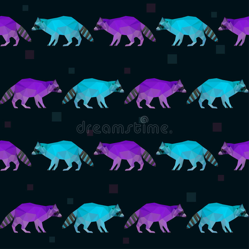 Abstract polygonal geometric triangle bright purple and blue colored raccoon seamless pattern background vector illustration