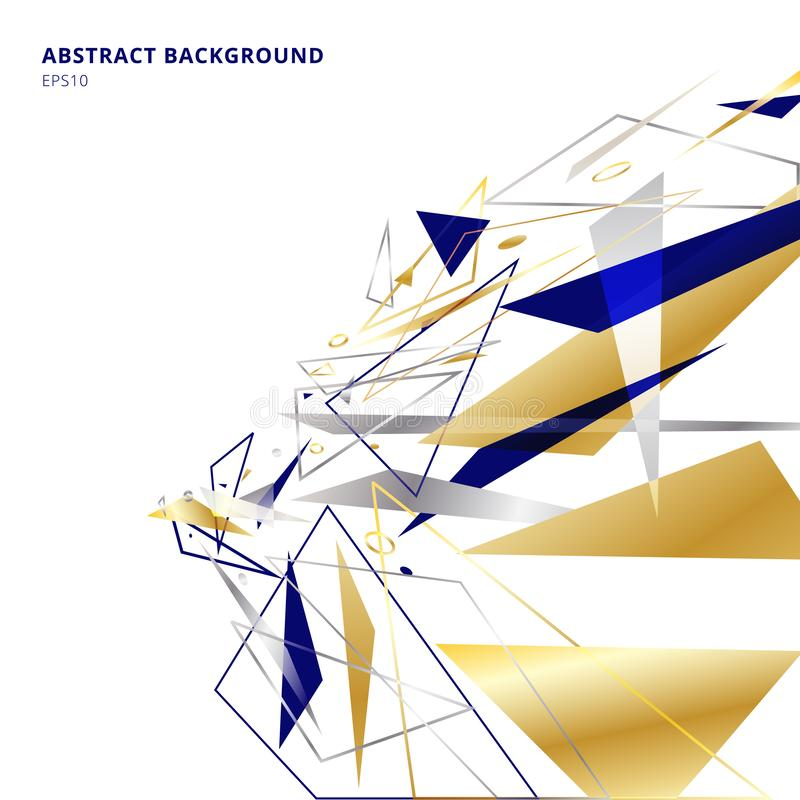 Abstract polygonal geometric triangles shapes and lines gold, silver, blue color perspective on white background with copy space. royalty free illustration
