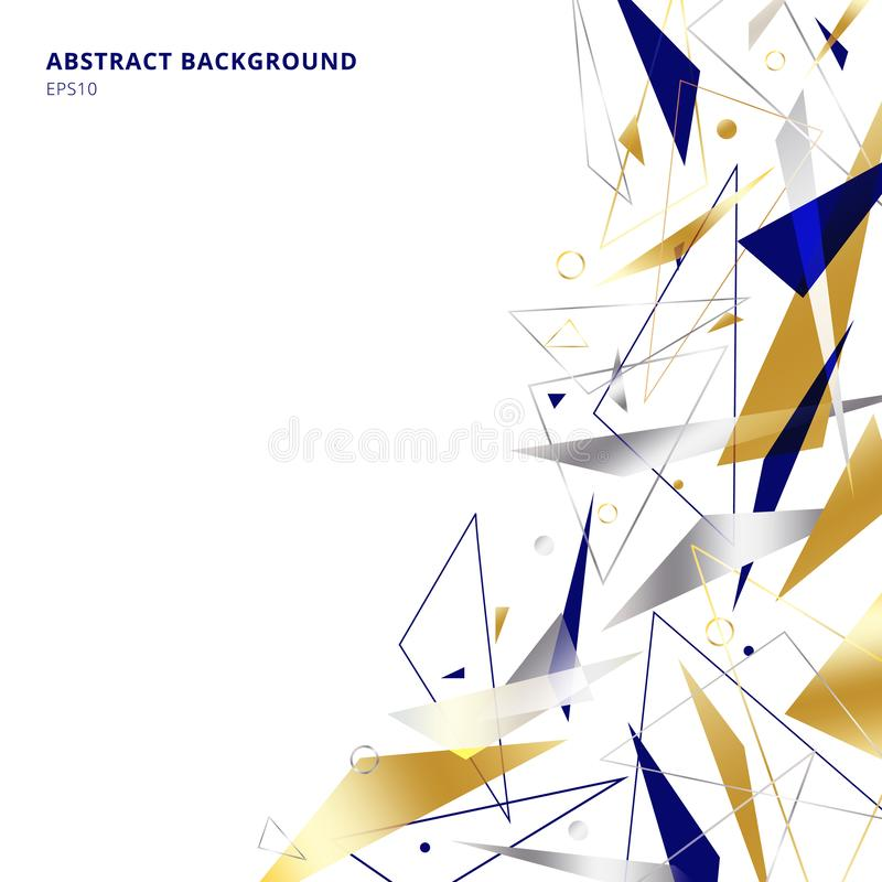 Abstract polygonal geometric triangles shapes and lines gold, silver, blue color on white background with copy space. Luxury style royalty free illustration