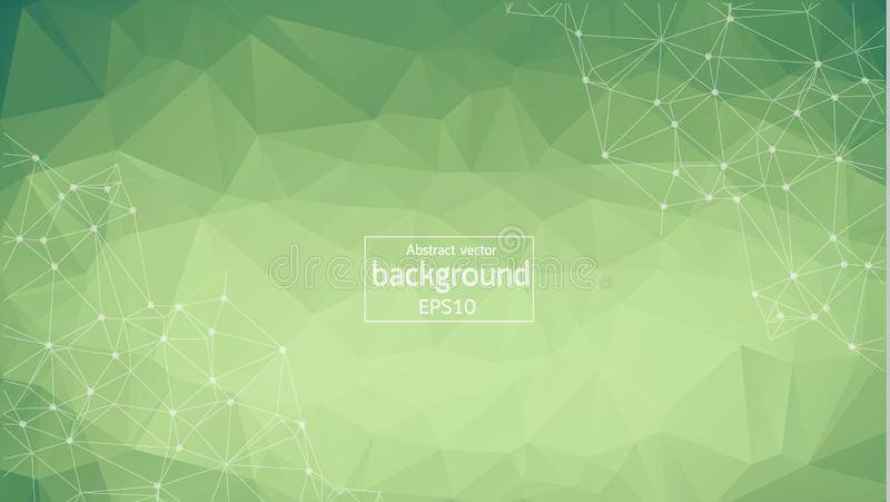 Abstract polygonal Green background with connected dots and lines, connection structure, futuristic hud background royalty free illustration