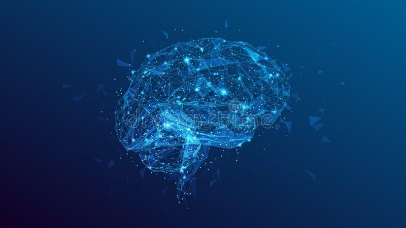 Polygonal human brain illustration on blue background stock illustration