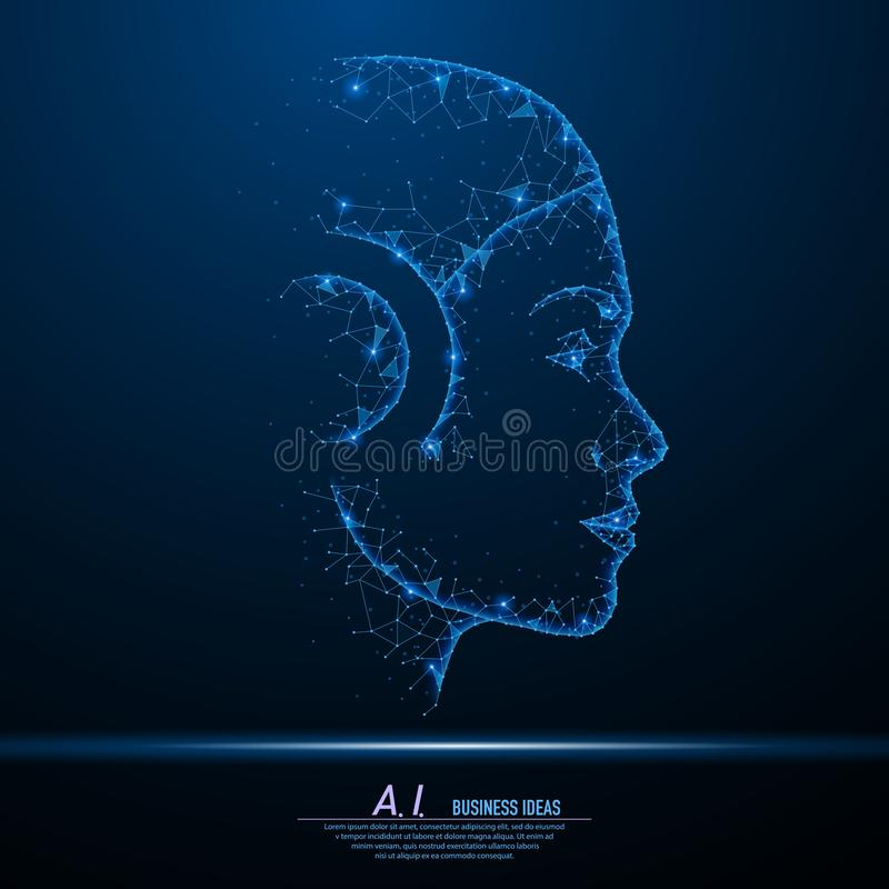 Abstract polygonal light of closeup robot woman face stock illustration