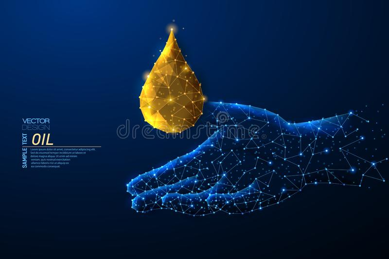 Abstract polygonal light design of cosmetic pill capsule of vitamin E, A, Argan oil, Almond, cod liver, Omega 3, fish. Skincare concept. Blue lines,dots stock illustration