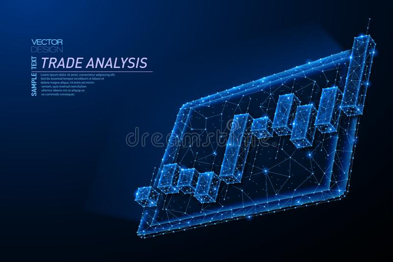 Abstract polygonal light design of tablet with stock market investment chart vector illustration