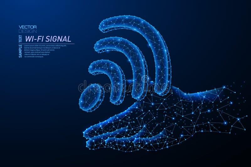 Abstract polygonal light design of wi-fi wave symbol vector illustration
