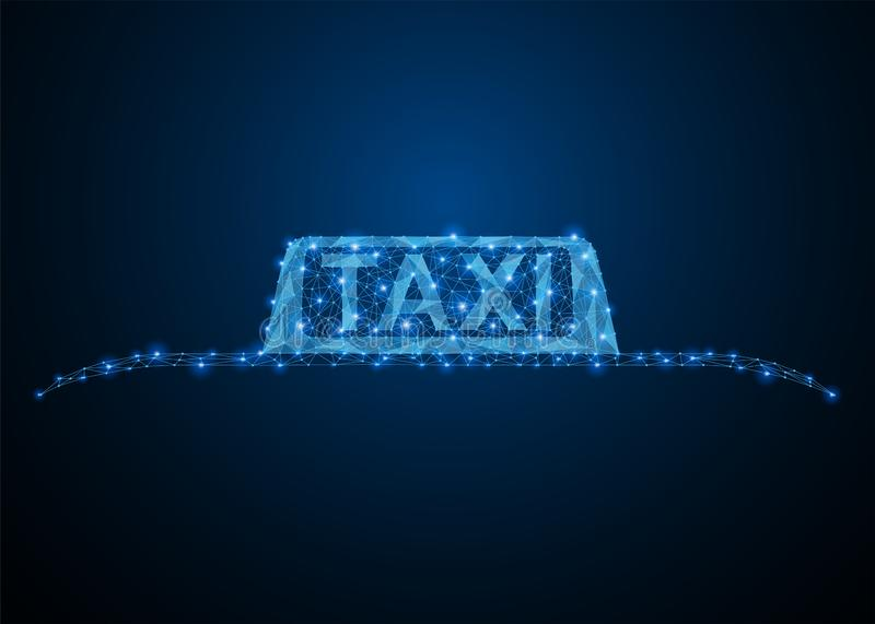 Taxi blue car roof sign vector illustration