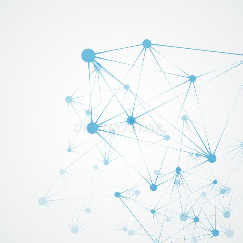 Abstract polygonal network shapes with connecting dots and lines. Science and technology background vector illustration