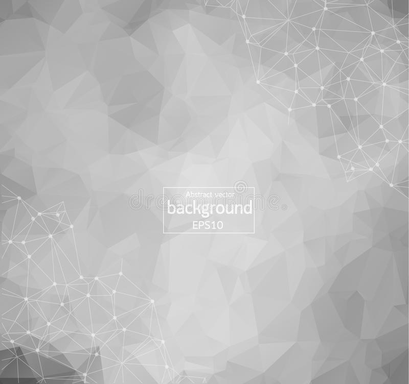 Abstract Polygonal Space Background with Connecting Dots and Lines, Abstract polygonal light background with connected dots and li. Nes, connection structure stock illustration