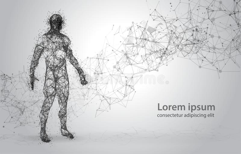 Abstract Wire frame human body. Polygonal 3d model on white background. Dots and Lines Low Poly royalty free stock images