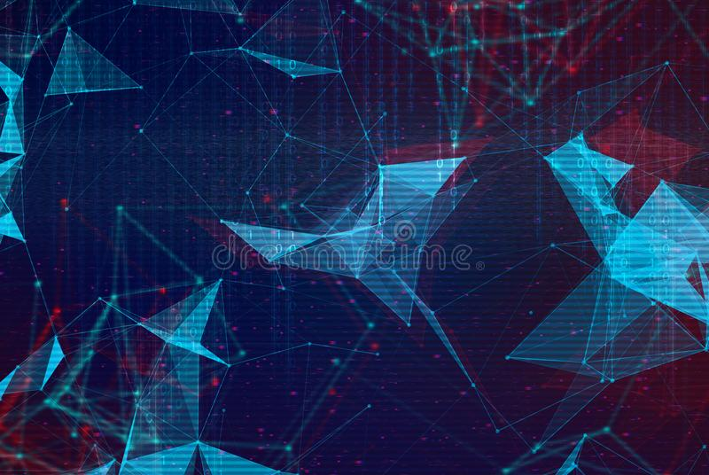 Abstract polygonal space low poly background. Connecting dots and lines in triangular structures. Illustration with trendy glitched effect, dead pixels, noise royalty free stock photo