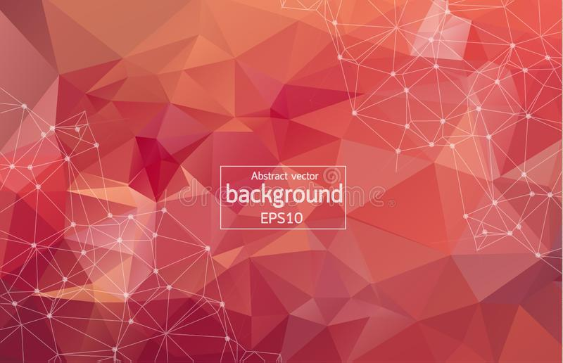 Abstract polygonal space low poly bright red background with connecting dots and lines. Connection structure. Vector science backg royalty free illustration