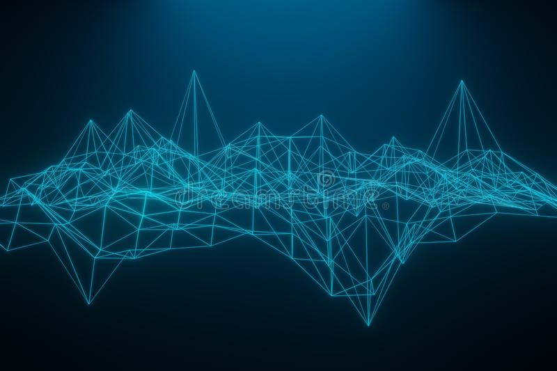 Abstract polygonal space low poly dark background with connecting dots and lines. Connection structure. 3d rendering. Abstract polygonal space low poly dark stock illustration