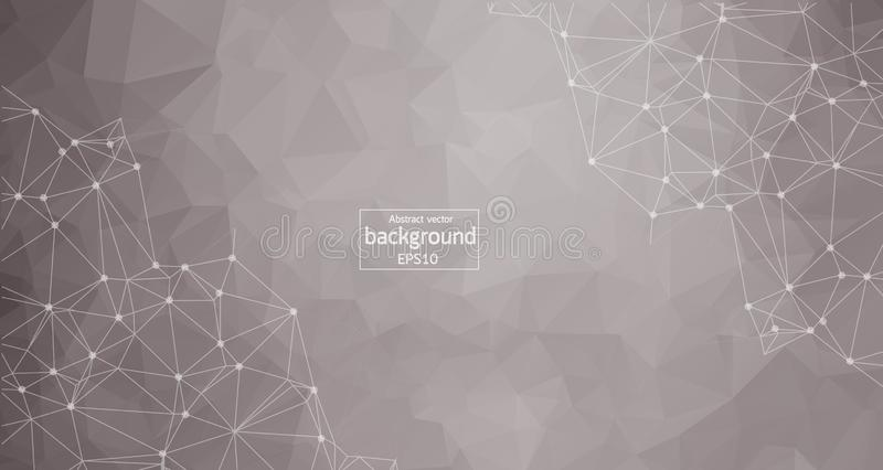 Abstract polygonal space low poly light grey background with connecting dots and lines. Connection structure. Vector science backg stock illustration