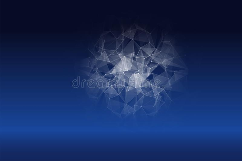 Abstract Polygonal Techno Science Background. Modern Technology Concept. Digital Data Visualization. Business vector illustration