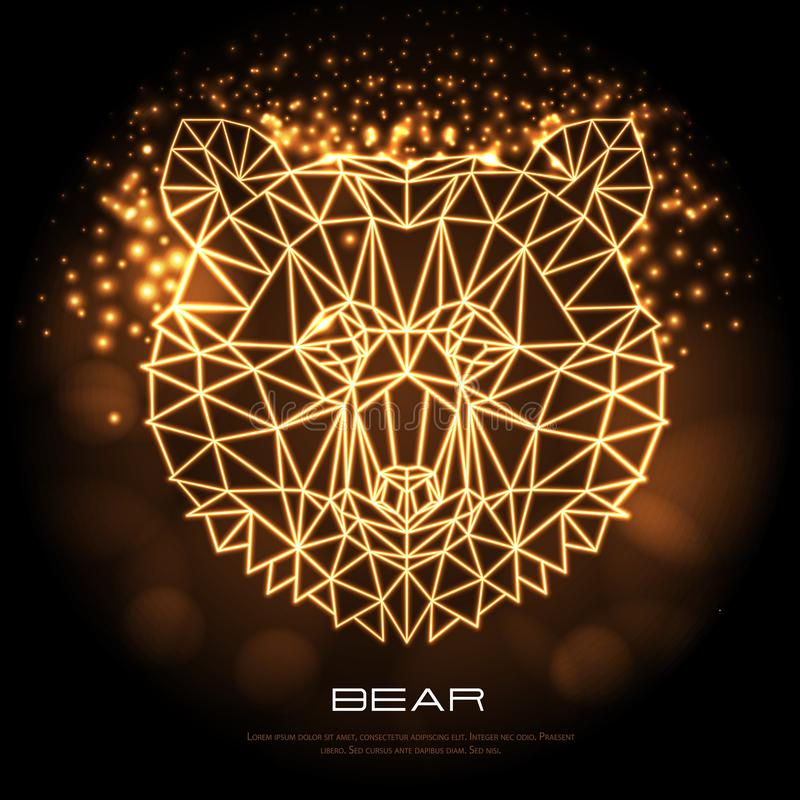 Abstract polygonal tirangle animal bear neon sign. Hipster animal stock illustration