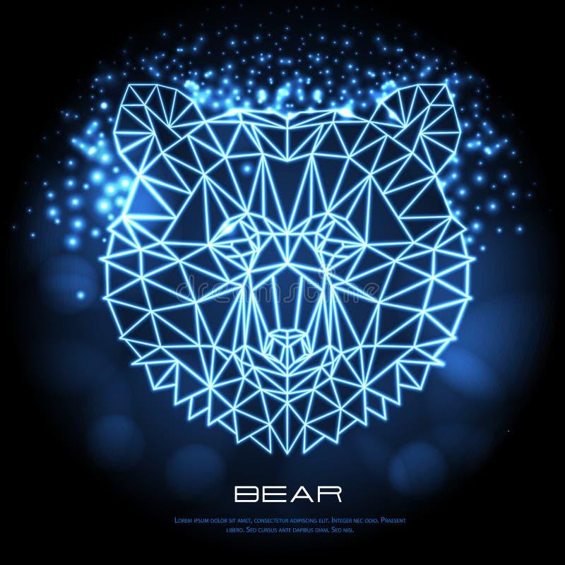 Abstract polygonal tirangle animal bear neon sign. Hipster animal stock illustration