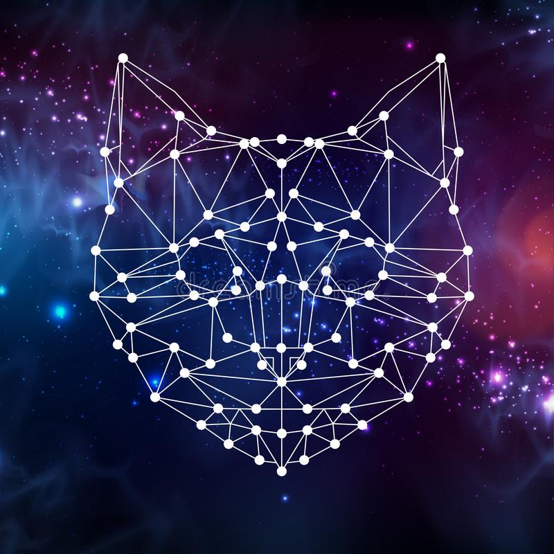 Abstract polygonal tirangle animal cat on open space background. vector illustration