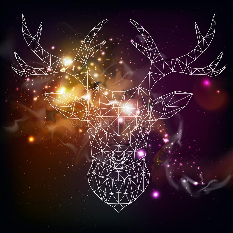 Abstract polygonal tirangle animal deer on open space background. Hipster animal illustration stock illustration