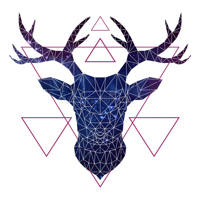Abstract polygonal tirangle animal deer with open space background. Hipster animal illustration stock illustration