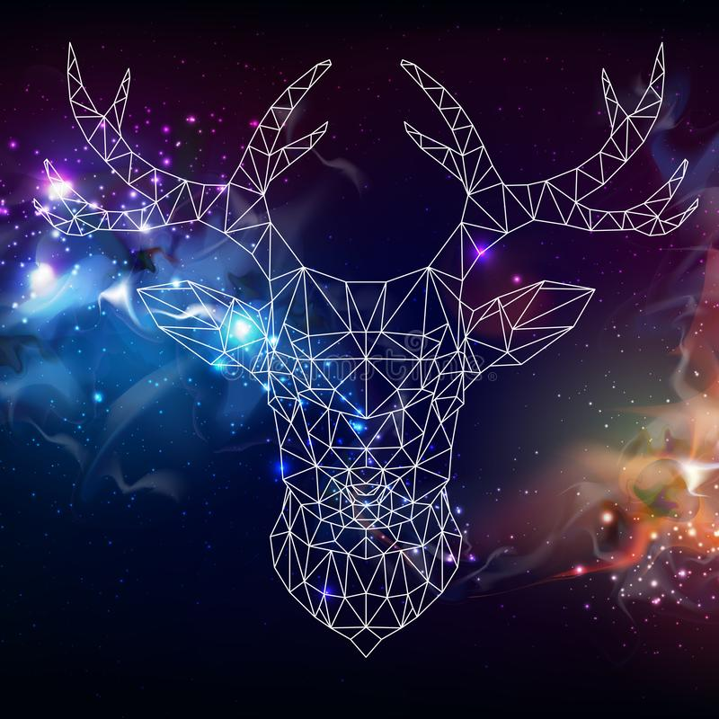 Abstract polygonal tirangle animal deer on open space background. Hipster animal illustration royalty free illustration