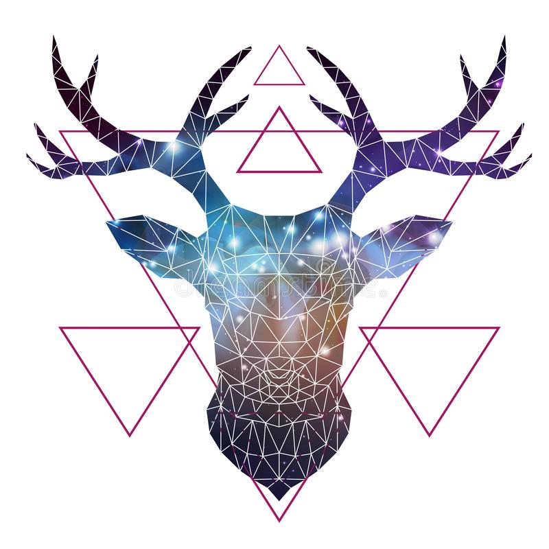 Abstract polygonal tirangle animal deer with open space background. Hipster animal illustration vector illustration