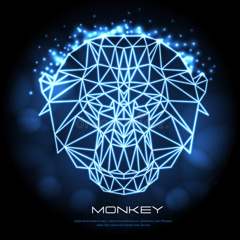 Abstract polygonal tirangle animal monkey neon sign. Hipster animal illustration vector illustration