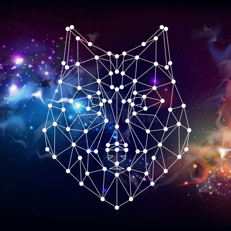 Abstract polygonal tirangle animal wolf on open space background. royalty free illustration