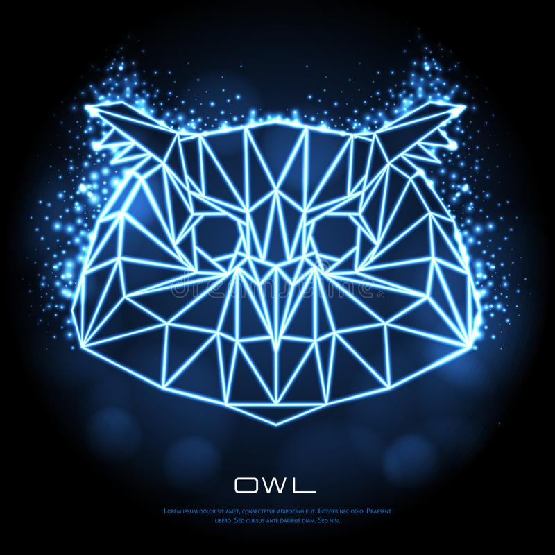 Abstract polygonal tirangle bird owl neon sign. stock illustration