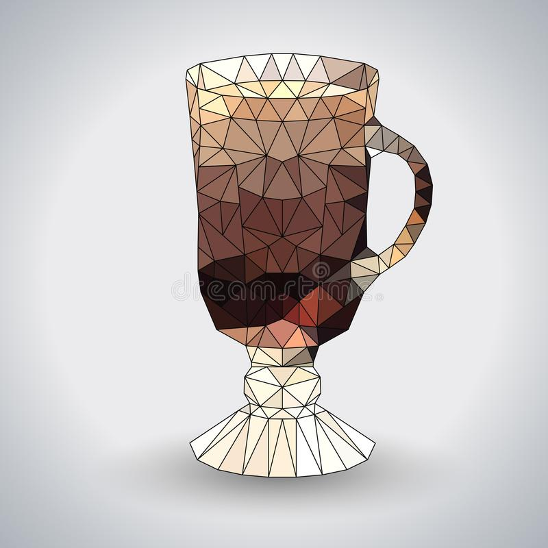 Abstract polygonal tirangle cocktail irish coffee. stock illustration