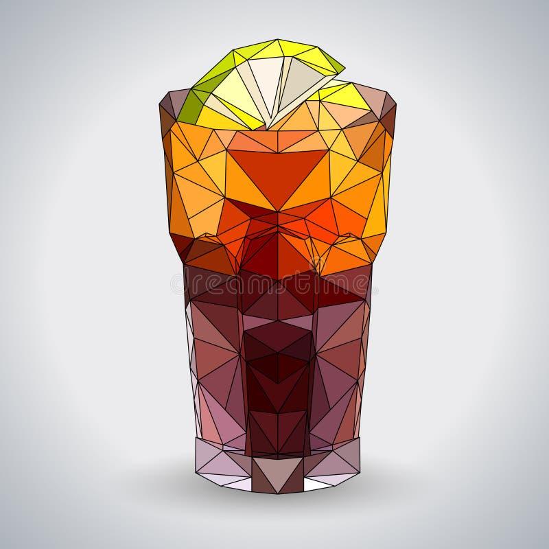 Abstract polygonal tirangle cocktail long island. stock illustration