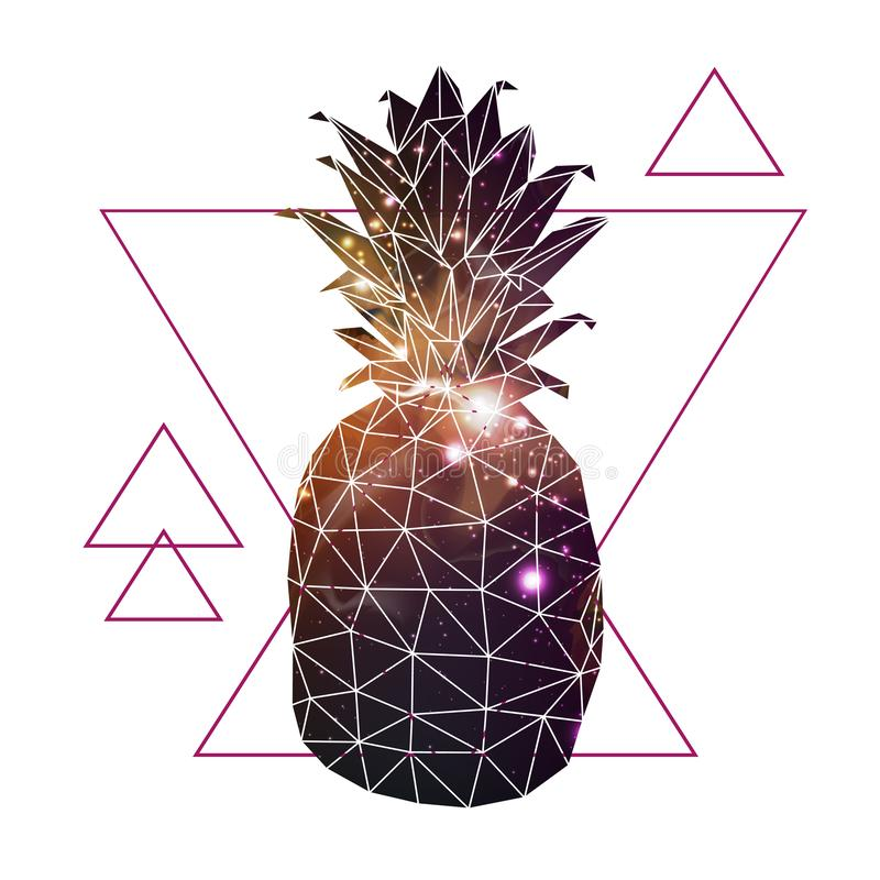Abstract polygonal tirangle fruit pineapple with open space background inside. royalty free illustration