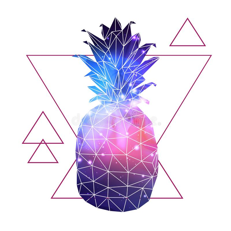 Abstract polygonal tirangle fruit pineapple with open space background inside. vector illustration