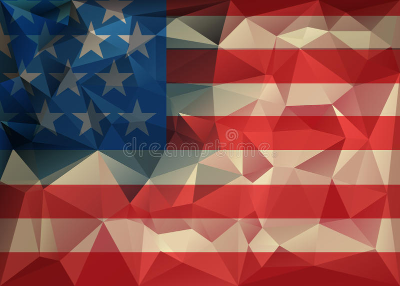 Abstract polygonal triangle USA flag background, Geometric low poly illustration. Polygonal poster vector illustration