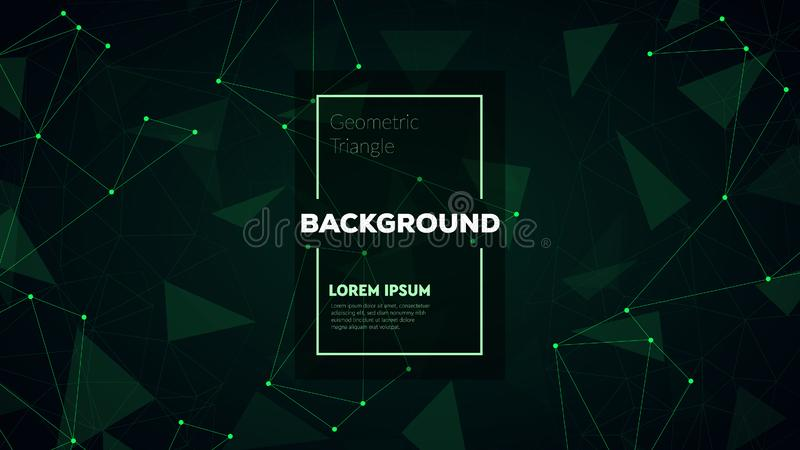 Abstract polygonal triangles background with connecting dots and lines. Vector science background. royalty free stock photo