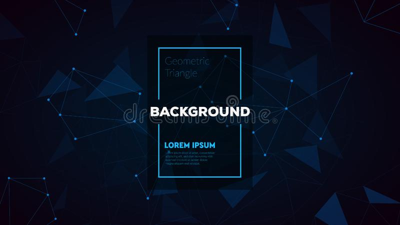 Abstract polygonal triangles background with connecting dots and lines. Vector science background. stock photo