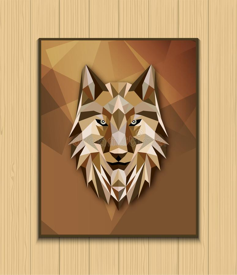 Abstract polygonal wolf head design on brown background royalty free stock photo