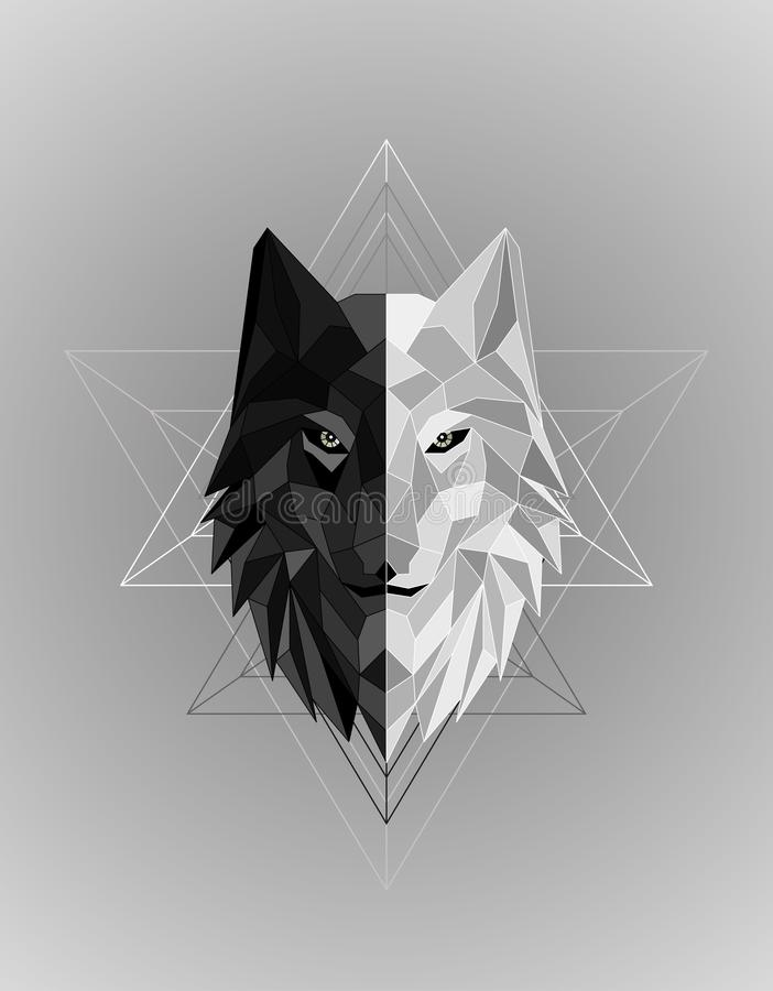 Abstract polygonal wolf head design stock image