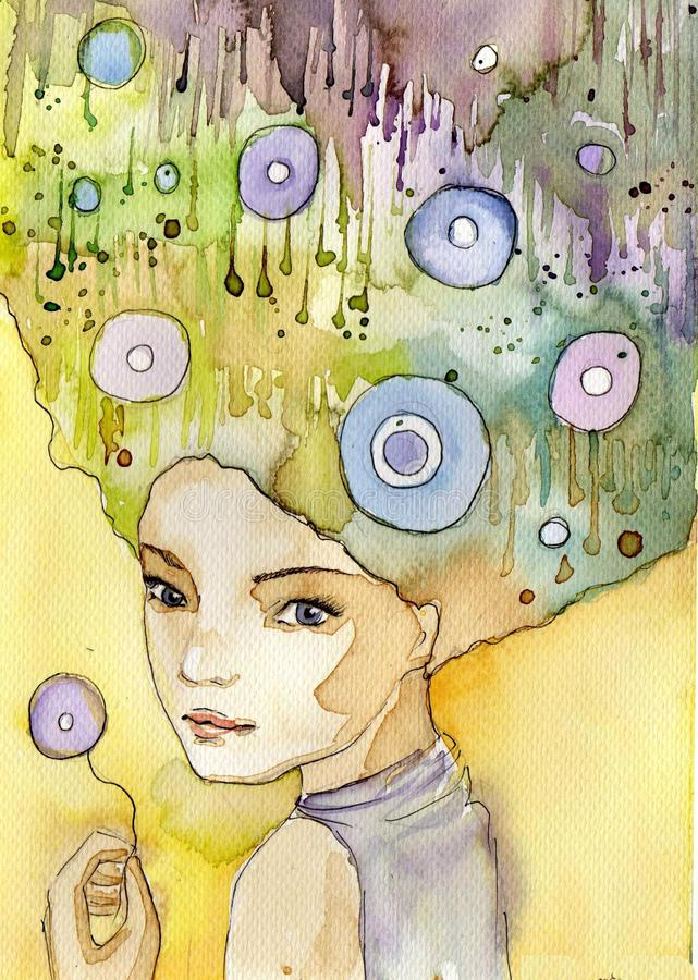 Abstract portrait stock illustration