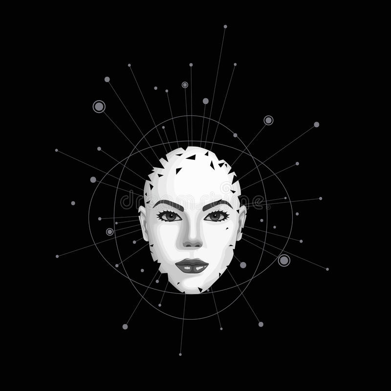 Abstract portrait of a girl. Abstract female face shatters into pieces. Vector illustration stock illustration