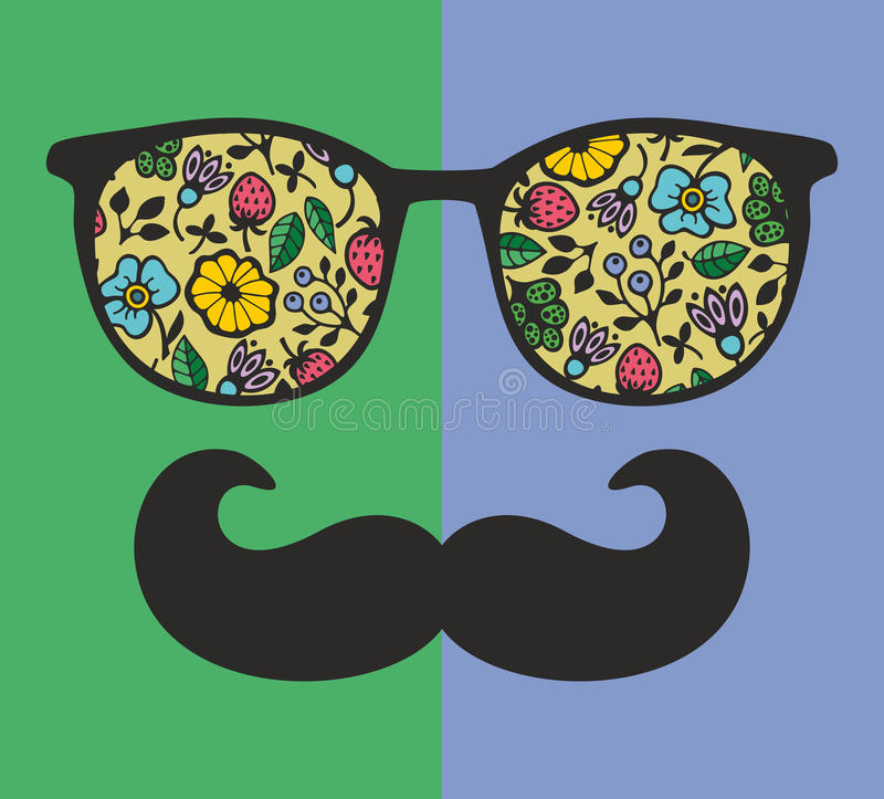 Abstract portrait of man in sunglasses and with moustache. royalty free illustration